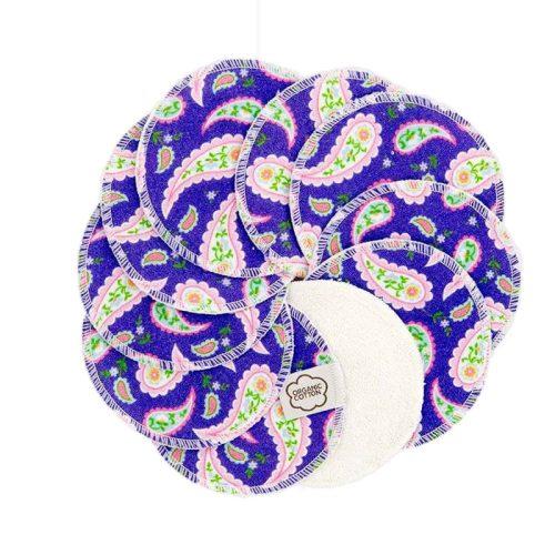 Imsevimse biopamut mosható arctisztító korong, purple paisley